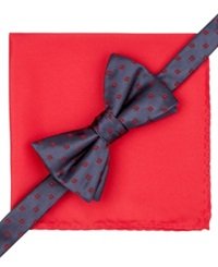 Alfani Spectrum Hilliard Geo Bow Tie And Pocket Square Set Only At Macy's