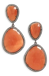 Susan Hanover Women's Semiprecious Stone Drop Earrings Orange Black Silver