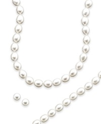 Macy's Sterling Silver Freshwater Pearl Necklace Bracelet And Earring Set