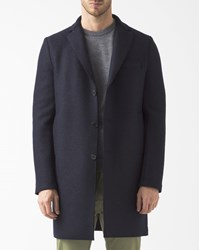Harris Wharf London Navy Blue Boiled Wool Unstructured Boxy Coat