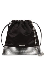 Miu Miu Starlight Viscose And Silk Satin Clutch Black