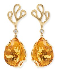 Sealeaf Collection 18K Yellow Gold Diamond And Citrine Earrings Miseno Yellow Gold