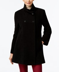 Larry Levine Double Breasted Babydoll Coat Black