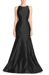 Women's Monique Lhuillier Bridesmaids Back Cutout Taffeta Mermaid Gown Black