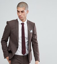 Heart And Dagger Super Skinny Suit Jacket In Dogstooth Fleck Brown