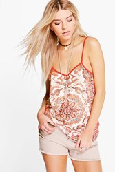 Boohoo Printed Front Cami Burnt Orange