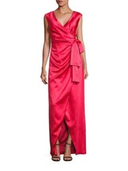 Kay Unger Stretch Satin Faux Wrap Gown Persimmon