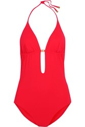 Tory Burch Gemini Cutout Swimsuit Red