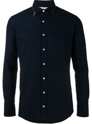 Kolor Zip Collar Shirt Blue