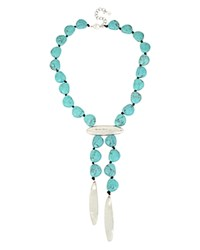 Robert Lee Morris Soho Turquoise Lariat Necklace 16 Turquoise Silver