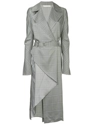 Dion Lee Check Wrap Trench Dress Blue