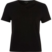River Island Womens Black Slash Neck Fitted T Shirt