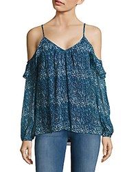 Ramy Brook Misti Printed Cold Shoulder Top Shadow Blue