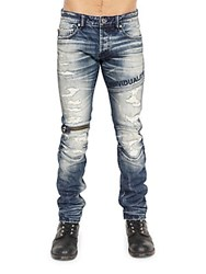 Cult Of Individuality Straight Fit Moto Jeans Blue