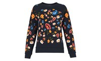 Whistles Floral Embroidered Sweatshirt Navy