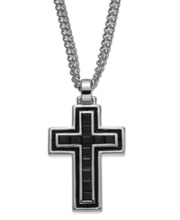 Macy's Men's Black Sapphire Cross Pendant Necklace In Sterling Silver 2 3 8 Ct. T.W.