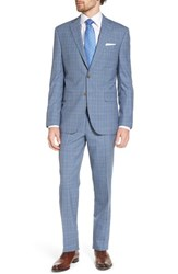 David Donahue Big And Tall Ryan Classic Fit Plaid Wool Suit Blue