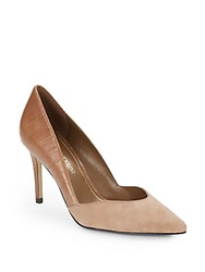 Enzo Angiolini Leather And Suede Cutaway Pumps Light Brown