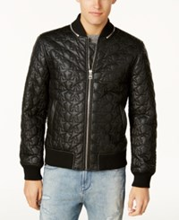 Guess Men's Star Quilted Bomber Jacket Jet Black A996