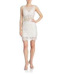 Basix Ii Lace Illusion Sheath Dress Silver