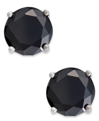 B. Brilliant Sterling Silver Earrings Black Cubic Zirconia Stud Earrings 1 Ct. T.W.