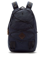 Polo Ralph Lauren Mountain Leather Trimmed Backpack Navy