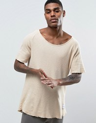 Criminal Damage Waffle Knitted Relaxed Fit T Shirt In Nude Beige