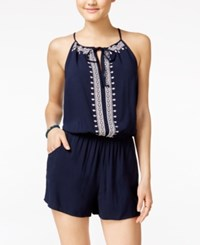 Amy Byer Bcx Juniors' Embroidered Romper Navy