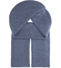 Johnstons Ribbed Cashmere Scarf American Navy