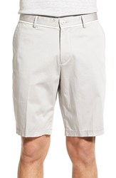 Men's Boss 'Clyde' Flat Front Stretch Cotton Shorts Light Grey