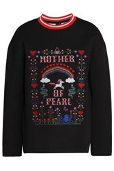 Mother Of Pearl Embroidered Cotton And Modal Blend Sweatshirt Black