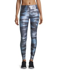 Terez Heathered Camo Tall Band Performance Leggings Blue Pattern