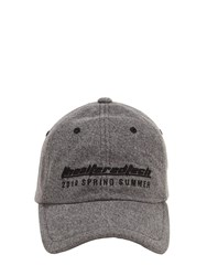 Juun.J Embroidered Cotton Canvas Baseball Hat Grey