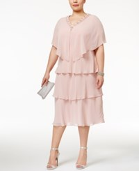 Si Fashions Sl Plus Size Tiered Sheath Dress And Embellished Jacket Faded Rose