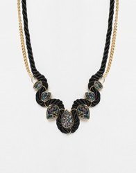 Paper Dolls Paperdolls Druzy Statement Collar Necklace Black