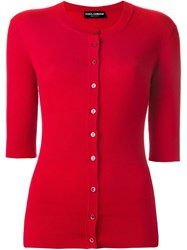 Dolce And Gabbana Ribbed Fitted Cardigan Red