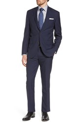 David Donahue Big And Tall Ryan Classic Fit Houndstooth Wool Suit Navy