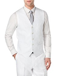 Perry Ellis Big And Tall Linen Cotton Suit Vest Bright White
