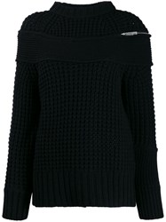 Sacai Deconstructed Knitted Jumper Black