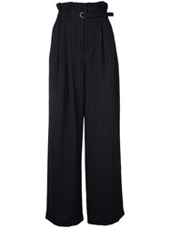 G.V.G.V. Pleated Wide Trousers Women Polyester Rayon 34 Blue