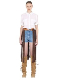 El Vaquero Fringed Leather And Suede Belt