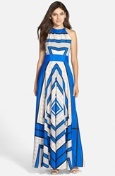 Women's Eliza J Scarf Print Crepe De Chine Fit And Flare Maxi Dress Cobalt
