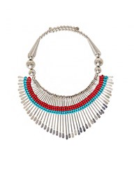 Pixie Market Silver And Turquoise Tribal Necklace