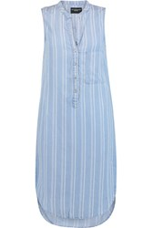 W118 By Walter Baker Sky Striped Chambray Dress Sky Blue