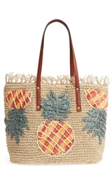 Tommy Bahama Mama Woven Straw Tote Beige Pineapple Applique
