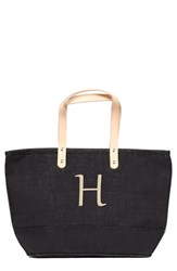 Cathy's Concepts 'Nantucket' Personalized Jute Tote Black Black H