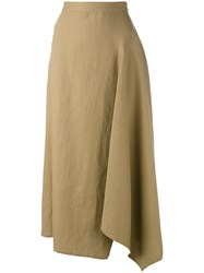 Yohji Yamamoto Long Draped Skirt Women Cotton Linen Flax 2 Nude Neutrals