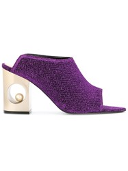 Coliac Heel Embellished Mules Purple