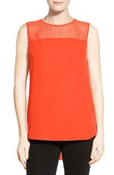 Women's Vince Camuto Chiffon Yoke Sleeveless Blouse Pimento
