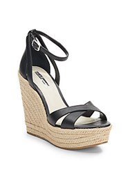 Bcbgeneration Holly Leather Espadrille Wedge Sandals Black